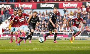 Mark Noble scores with a penalty for West Ham against Burnley in the Premier League at Upton Park