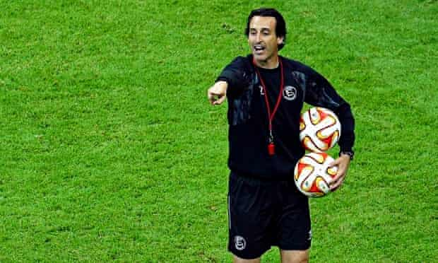 Sevilla's manager, Unai Emery, leads his team's training session at the National Stadium in Warsaw,