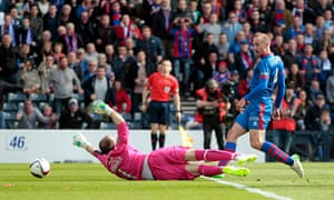 James Vincent scores the second goal for Inverness against Falkirk in the Scottish Cup final