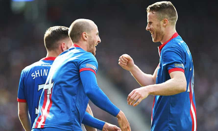 James Vincent, left, and Marley Watkins celebrate Inverness' second goal in the Scottish Cup final