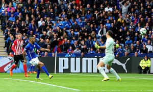 Riyad Mahrez scores Leicester's second against Southampton in the Premier League at the King Power