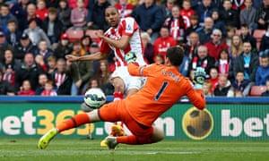 Steven Nzonzi scores Stoke's second goal against Tottenham in the Premier League at the Britannia