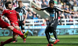Newcastle's Ayoze Pérez, right, scores against West Bromin the Premier League at St James' Park