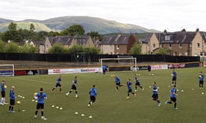 The Rangers players training at Alloa Athletic's Recreation Park earlier this week