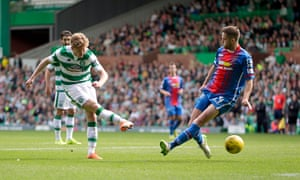 Celtic's Stuart Armstrong scores their fourth goal against Inverness in the Scottish Premiership