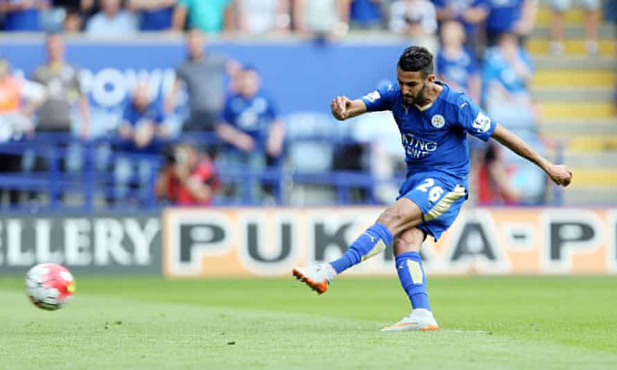 Riyad Mahrez scores Leicester City's third against Sunderland in the Premier League