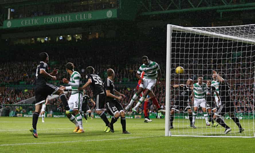 Celtic's Dedryck Boyata scores the winning goal against Qarabag at Celtic Park