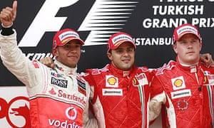 Lewis Hamilton, Felipe Massa and Kimi Raikkonen