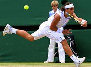 Wimbledon 2007: Rafael Nadal returns the ball during the men's final