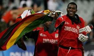 Zimbabwe team members celebrate their victory over Australia in the 2007 ICC World Twenty20 Championship