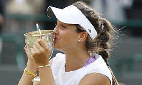 Britain's Laura Robson kisses her trophy after winning the Wimbledon girl's singles final