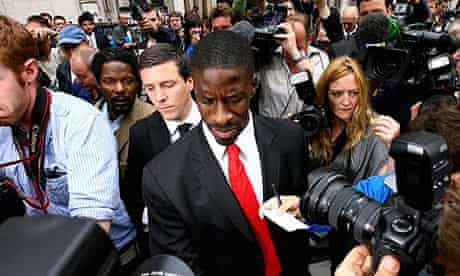 Dwain Chambers leaves the high court. Photograph: Ben Stansall/AFP/Getty Images