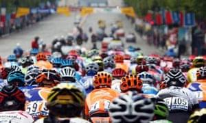 Tour de France riders approach the Arc de Triomphe on the Champs Elysees