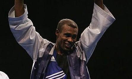 Mario Cesar Kindelan Mesa of Cuba celebrates during the 2004 Athens Olympics