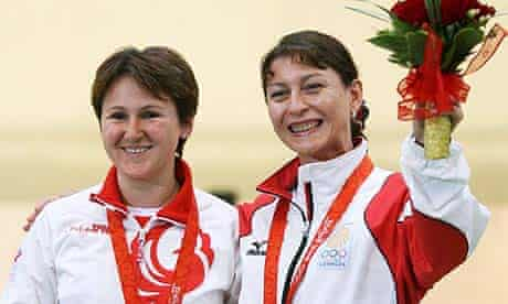 Paderina Natalia of Russia and Nino Salukvadeze of Georgia share the podium