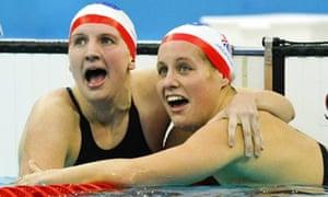 Swimmers Rebecca Adlington and Joanne Jackson