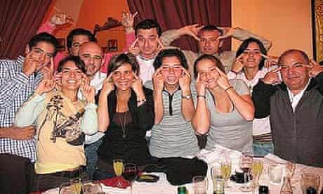 Spanish players making slit-eyed gestures