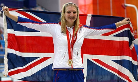Rebecca Adlington celebrates after winning her second gold medal of the Games. Photograph: Shaun Botterill/Getty Images