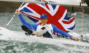 Paul Goodison of Great Britain celebrates overall victory in the Laser class