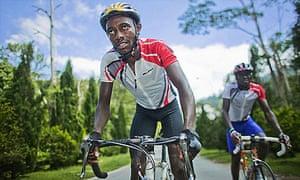 Kenyan cyclists Zakayo Nderi and Samwel Myangi