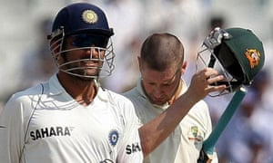 Mahendra Singh Dhoni and Michael Clarke of India and Australia