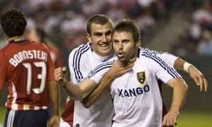 Real Salt Lake's Yura Movsisyan celebrates scoring