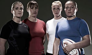 England rugby union players: Rachel Burford, Catherine Spencer, Michaela Staniford and Katie Storie