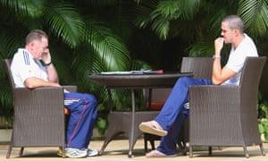 Team security adviser Reg Dickinson talks to England cricket captain Kevin Pietersen