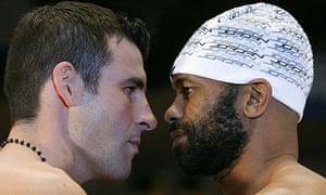 Boxers Joe Calzaghe of Britain and Roy Jones Jr