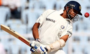 Rahul Dravid of India takes evasive action from a James Anderson delivery