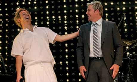Shane Warne joins Eddy Perfect on stage for the opening night of Shane Warne The Musical