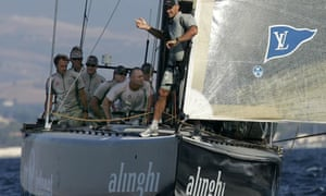 Switzerland's Alinghi during a practice session ahead of the 32nd America's Cup