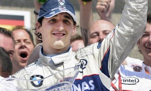 BMW Sauber driver Robert Kubica celebrates winning the Canadian grand prix at Gilles-Villeneuve