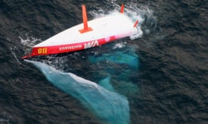 French skipper Jean Le Cam's capsized boat is seen off Cape Horn, off the Chilean coast