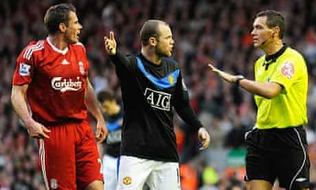 Andre Marriner, Wayne Rooney and Jamie Carragher