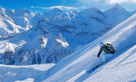 Skiing on the eastern slopes of the Schilthorn, Bernese Oberland, Switzerland