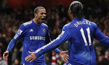 Ashley Cole and Didier Drogba celebrate