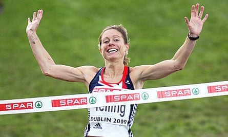 Britain's Hayley Yelling reacts after winning the European Cross Country Championship in Dublin.