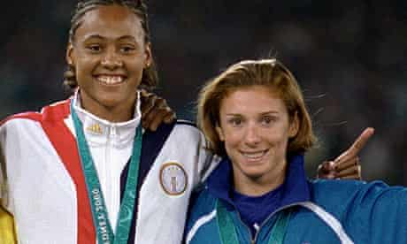 Katerina Thanou (right) and Marion Jones stand on the podium together back in 2000