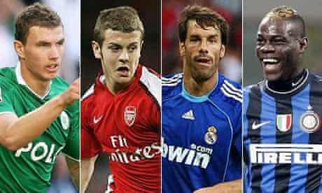 Edin Dzeko, Jack Wilshere, Ruud van Nistelrooy and Mario Balotelli