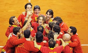 Spain celebrate their victory over Czech Republic in the Davis Cup final