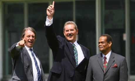 Sir Allen Stanford poses with ECB chairman Giles Clarke and WICB chairman Dr Julian Hunt