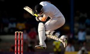 England's Kevin Pietersen ducks a ball