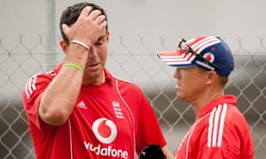 England's Kevin Pietersen talks to coach Andy Flower during a nets session in Barbados