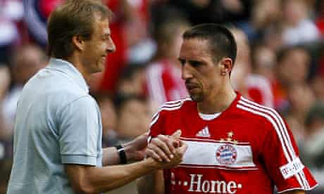 Jurgen Klinsmann shakes hands Franck Ribery