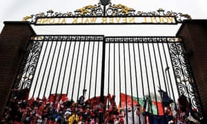 A tribute to the Hillsborough victims at the Shankly Gates