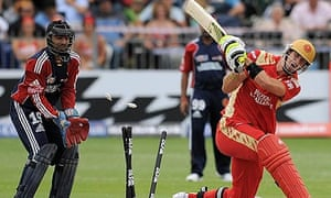 Kevin Pietersen of the Bangalore Royal Challengers is bowled by Daniel Vettori