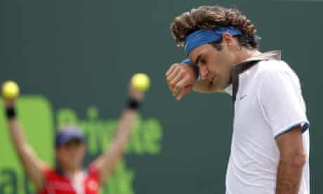 Roger Federer was made to suffer in the Miami heat by Novak Djokovic.