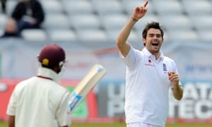 James Anderson enjoys getting wicket Lendl Simmons