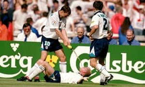 England's Paul Gascoigne re-enacts the infamous Dentist's Chair incident with Teddy Sheringham